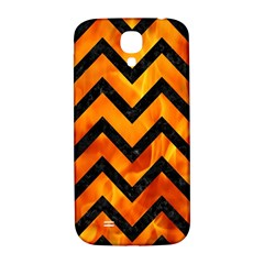 Chevron9 Black Marble & Fire (r) Samsung Galaxy S4 I9500/i9505  Hardshell Back Case by trendistuff