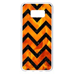 Chevron9 Black Marble & Fire (r) Samsung Galaxy S8 Plus White Seamless Case by trendistuff