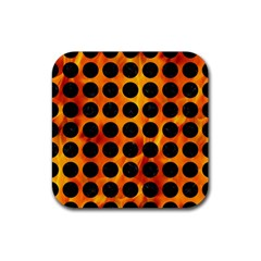 Circles1 Black Marble & Fire (r) Rubber Square Coaster (4 Pack)  by trendistuff
