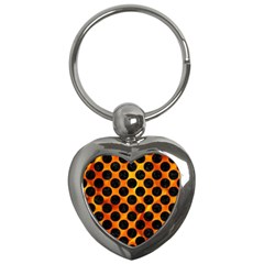 Circles2 Black Marble & Fire (r) Key Chains (heart)  by trendistuff