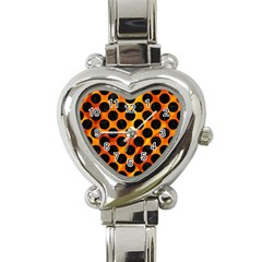Circles2 Black Marble & Fire (r) Heart Italian Charm Watch by trendistuff