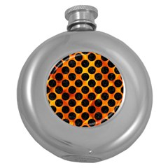 Circles2 Black Marble & Fire (r) Round Hip Flask (5 Oz) by trendistuff