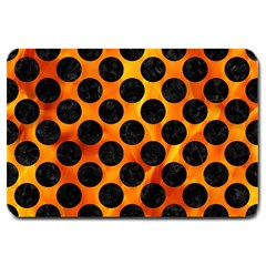 Circles2 Black Marble & Fire (r) Large Doormat  by trendistuff