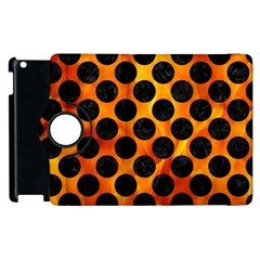 Circles2 Black Marble & Fire (r) Apple Ipad 2 Flip 360 Case by trendistuff