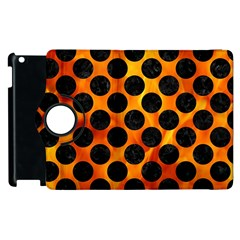 Circles2 Black Marble & Fire (r) Apple Ipad 3/4 Flip 360 Case by trendistuff