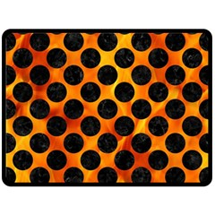 Circles2 Black Marble & Fire (r) Double Sided Fleece Blanket (large)  by trendistuff