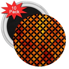 Circles3 Black Marble & Fire (r) 3  Magnets (10 Pack)  by trendistuff