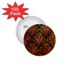 Damask1 Black Marble & Fire 1 75  Buttons (100 Pack)  by trendistuff