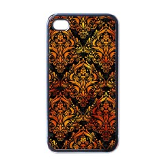 Damask1 Black Marble & Fire Apple Iphone 4 Case (black) by trendistuff