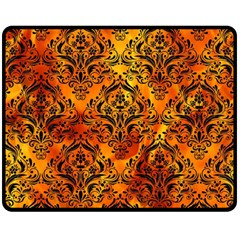 Damask1 Black Marble & Fire (r) Double Sided Fleece Blanket (medium)  by trendistuff