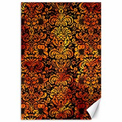 Damask2 Black Marble & Fire Canvas 12  X 18   by trendistuff