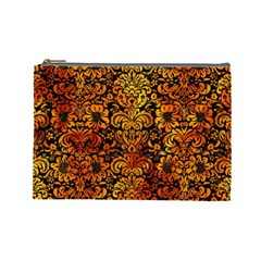Damask2 Black Marble & Fire Cosmetic Bag (large)  by trendistuff