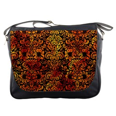 Damask2 Black Marble & Fire Messenger Bags by trendistuff