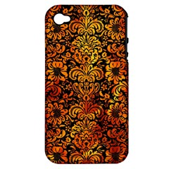 Damask2 Black Marble & Fire Apple Iphone 4/4s Hardshell Case (pc+silicone) by trendistuff