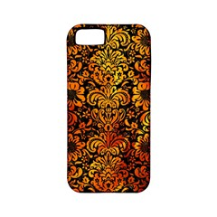 Damask2 Black Marble & Fire Apple Iphone 5 Classic Hardshell Case (pc+silicone) by trendistuff