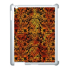 Damask2 Black Marble & Fire Apple Ipad 3/4 Case (white) by trendistuff