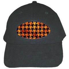 Houndstooth1 Black Marble & Fire Black Cap by trendistuff