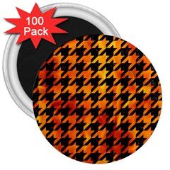 Houndstooth1 Black Marble & Fire 3  Magnets (100 Pack)