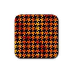 Houndstooth1 Black Marble & Fire Rubber Square Coaster (4 Pack)  by trendistuff