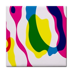 Anatomicalrainbow Wave Chevron Pink Blue Yellow Green Tile Coasters by Mariart
