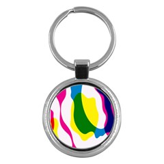 Anatomicalrainbow Wave Chevron Pink Blue Yellow Green Key Chains (round)  by Mariart