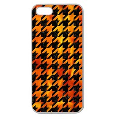 Houndstooth1 Black Marble & Fire Apple Seamless Iphone 5 Case (clear) by trendistuff