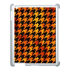 Houndstooth1 Black Marble & Fire Apple Ipad 3/4 Case (white) by trendistuff