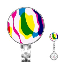 Anatomicalrainbow Wave Chevron Pink Blue Yellow Green Stainless Steel Nurses Watch by Mariart