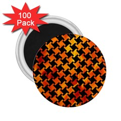 Houndstooth2 Black Marble & Fire 2 25  Magnets (100 Pack)  by trendistuff