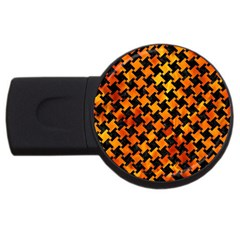 Houndstooth2 Black Marble & Fire Usb Flash Drive Round (2 Gb) by trendistuff
