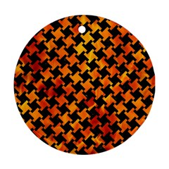 Houndstooth2 Black Marble & Fire Round Ornament (two Sides) by trendistuff
