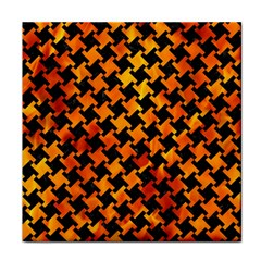 Houndstooth2 Black Marble & Fire Face Towel by trendistuff