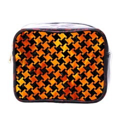 Houndstooth2 Black Marble & Fire Mini Toiletries Bags by trendistuff