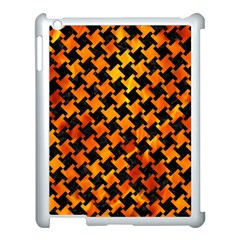 Houndstooth2 Black Marble & Fire Apple Ipad 3/4 Case (white) by trendistuff