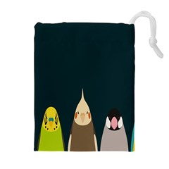 Animals Lovebird Walnut Peacock Parrots Birds Drawstring Pouches (extra Large) by Mariart