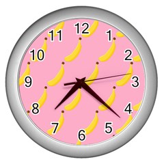 Banana Fruit Yellow Pink Wall Clocks (silver)  by Mariart