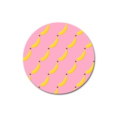 Banana Fruit Yellow Pink Magnet 3  (round) by Mariart