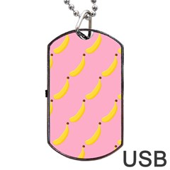Banana Fruit Yellow Pink Dog Tag Usb Flash (two Sides) by Mariart