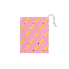 Banana Fruit Yellow Pink Drawstring Pouches (xs)  by Mariart