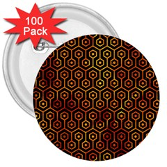 Hexagon1 Black Marble & Fire 3  Buttons (100 Pack)  by trendistuff