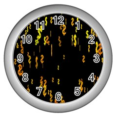 Animated Falling Spinning Shining 3d Golden Dollar Signs Against Transparent Wall Clocks (silver)  by Mariart