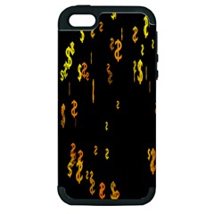 Animated Falling Spinning Shining 3d Golden Dollar Signs Against Transparent Apple Iphone 5 Hardshell Case (pc+silicone) by Mariart