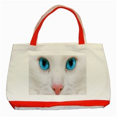 Beautiful White Face Cat Animals Blue Eye Classic Tote Bag (red) by Mariart