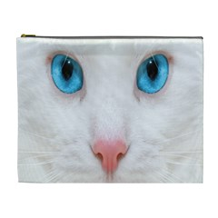 Beautiful White Face Cat Animals Blue Eye Cosmetic Bag (xl) by Mariart