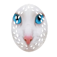 Beautiful White Face Cat Animals Blue Eye Oval Filigree Ornament (two Sides) by Mariart