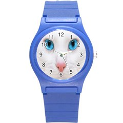 Beautiful White Face Cat Animals Blue Eye Round Plastic Sport Watch (s) by Mariart
