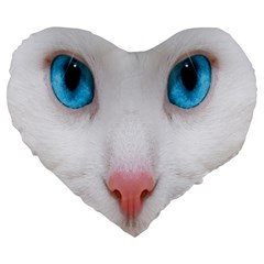 Beautiful White Face Cat Animals Blue Eye Large 19  Premium Heart Shape Cushions by Mariart