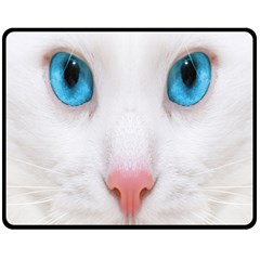 Beautiful White Face Cat Animals Blue Eye Double Sided Fleece Blanket (medium)  by Mariart