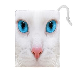 Beautiful White Face Cat Animals Blue Eye Drawstring Pouches (extra Large) by Mariart