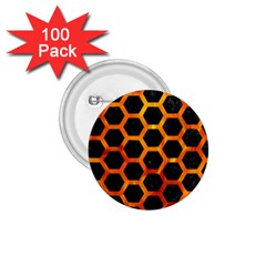 Hexagon2 Black Marble & Fire 1 75  Buttons (100 Pack)  by trendistuff